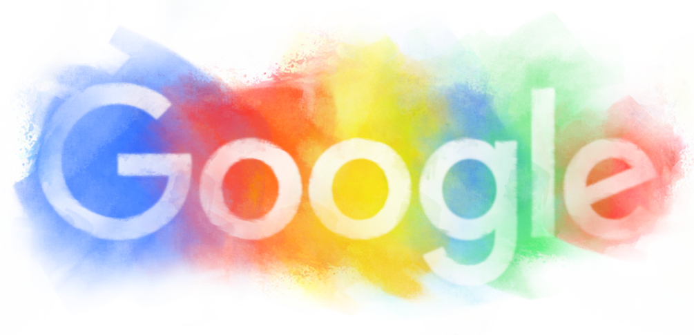 A colorful logo of a Google Doodle while looking for the news